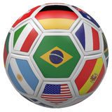 Soccer ball with Brazil flag in the front. 3D illustration Royalty Free Stock Photo