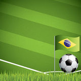 Soccer ball and the brazil flag Stock Photo