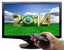 2014 and soccer ball with Brazil flag Stock Image