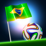 Soccer ball 2014 with brazil flag, vector illustration Royalty Free Stock Photography