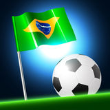 Soccer ball 2014 with brazil flag, vector illustration Stock Photos