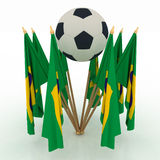 Soccer ball with brazil flags Stock Photos