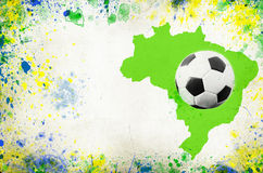 Soccer ball, Brazil map and colors of the flag Stock Photography