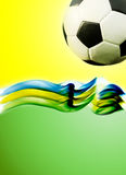 Soccer ball, Brazil map and colors of the flag Stock Photos