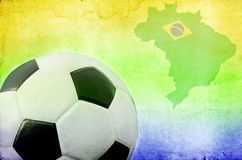 Soccer ball, Brazil map and colors of the flag Royalty Free Stock Photography