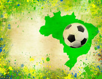 Soccer ball, Brazil map and colors of the flag Stock Photo