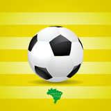 Soccer ball and Brazil map of soccer 2014, illustration. Soccer ball and Brazil map of soccer 2014, poster illustration Royalty Free Stock Photography