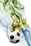 Soccer ball and brazil`s flag colors Royalty Free Stock Image