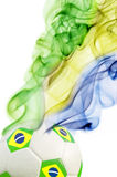 Soccer ball and brazil`s flag colors Royalty Free Stock Photos