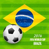 Soccer ball with Brazilian Flag. Illustration of soccer ball with Brazilian flag in FIFA World Cup background Royalty Free Stock Photography