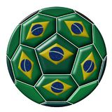 Soccer ball with Brazilian flag Royalty Free Stock Image