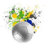 Soccer ball with Brazilian flag splashing. Colors stock illustration