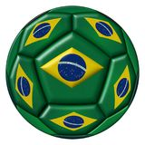 Soccer ball with Brazilian flag on white background Royalty Free Stock Photo