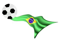 Soccer Ball on Brazilian Flag of 2014 World Cup. An Illustration of A Soccer Ball or Football on A Brazil Flag of Brazil World Cup 2014, Isolated on A White Stock Image