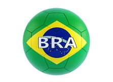 Soccer ball in brazils national colors. 3D Rendering Stock Photos
