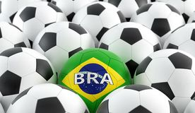 Soccer ball in brazils national colors. 3D Rendering Royalty Free Stock Image