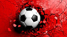 Soccer ball breaking forcibly through a red wall. 3d illustration. Football concept. Soccer ball breaking with great force through a red wall. 3d illustration Stock Photos