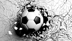 Soccer ball breaking forcibly through a white wall. 3d illustration. Football concept. Soccer ball breaking with great force through a white wall. 3d Royalty Free Stock Photos