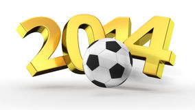 Soccer 2014. Soccer ball breaking golden digits 2014 Royalty Free Stock Photography