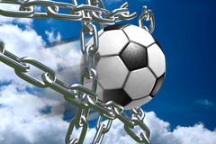 Soccer Ball Breaking Through Metal Chains. 3D soccer ball tearing silver chains apart Stock Images