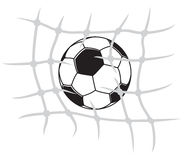 Soccer ball breaking net Royalty Free Stock Photos