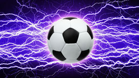 Soccer ball, bright lightnings Stock Image