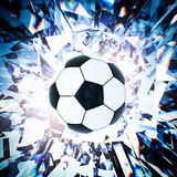Soccer ball with broken glass background. 3d rendering black and white soccer ball with broken glass background Royalty Free Stock Photography