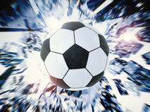 Soccer ball with broken glass background. 3d rendering black and white soccer ball with broken glass background Stock Photo