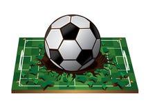 Soccer ball with Broken green 3d soccer field Royalty Free Stock Photos