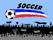 Soccer ball and brush strokes with football supporters silhouett. Es. The silhouette and the background are in different layers and the text types do not need Stock Photo