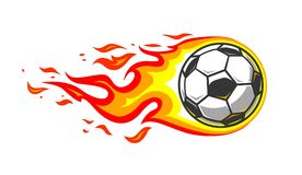 Soccer ball in burning fire flames stock illustration