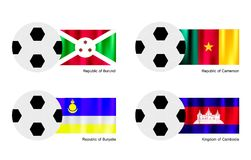 Soccer Ball with Burundi, Cameroon, Buryatia and C Stock Photography