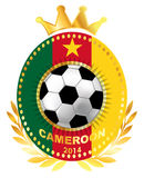 Soccer ball on Cameroon flag Stock Images