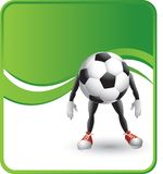 Soccer ball cartoon character. On a green wave background Stock Photography