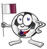 Soccer ball cartoon with flag quatar. Isolaetd on white Royalty Free Stock Photos