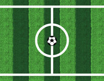 Soccer. Ball in center field Royalty Free Stock Photo