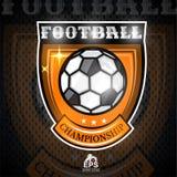 Soccer ball in center of shield. Sport logo for any football team. On dark stock illustration
