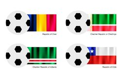 Soccer Ball with Chad, Chechen Republic, Ichkeria  Stock Images