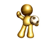 Soccer ball champion. Icon figure playing and holding a soccer ball Royalty Free Stock Image