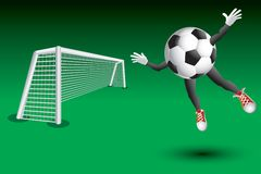 Soccer ball character flying toward goal Stock Images