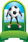 Soccer ball character in green display Stock Photography