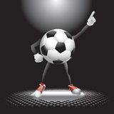 Soccer ball character under the spotlight Royalty Free Stock Images