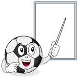 Soccer Ball Character and White Board Royalty Free Stock Image