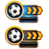 Soccer ball checkered arrow banners Royalty Free Stock Photo