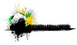 Soccer Ball with Cheering People Stock Image