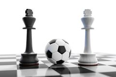 A soccer ball on a chess board Royalty Free Stock Images