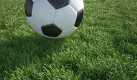 Soccer ball close-up on grass lawn. Royalty Free Stock Images
