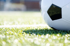 Soccer ball close up. Image of soccer ball on grass close up Royalty Free Stock Photos