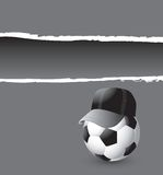 Soccer ball coach on a gray ripped banner Royalty Free Stock Photos