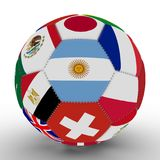 Soccer ball with the color flags of the countries participating in the World Cup on football, in the middle of Argentina, 3d rende. Soccer ball with the color Royalty Free Stock Photography